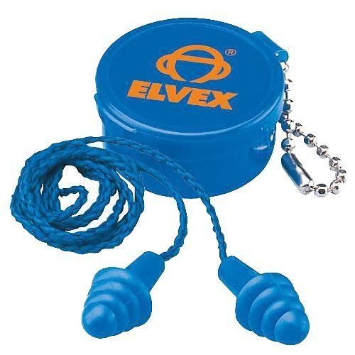 Elvex Quattro Corded Reusable Ear Plug with Container, 27 NRR