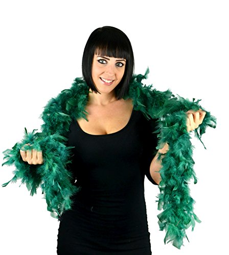 Touch of Nature 1-Piece 2-Yard Feather Turkey Flat Chandelle Boa for Arts and Crafts, 45gm, Emerald Green