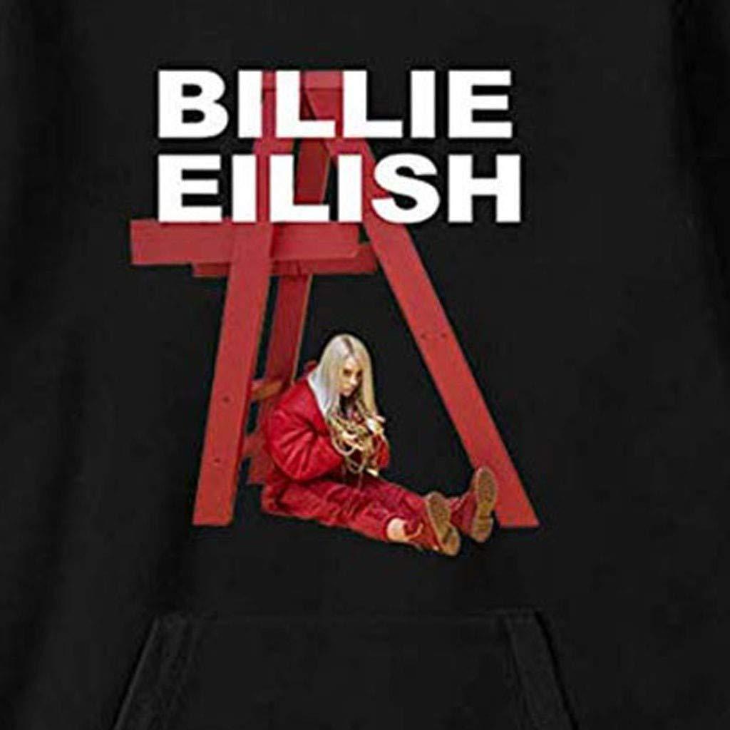 Luranunuy Felpa con Cappuccio Donna Billie Eilish Felpe Stampa 3D Unisex Uomo Hoodie Tinta Unita Sweatshirt Hip Pop Pullover Grafico e Letterale Style2