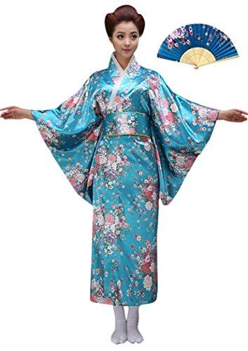 CRB CRB Womens Ladies Kimono Japanese Asian Top Dress Robe Sash Belt Outfit (Medium, Aqua)