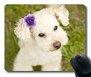 Cute Dog With Flower Fashion Masterpiece Limited Design Oblong Mouse Pad by Cases & Mousepads by icecream design