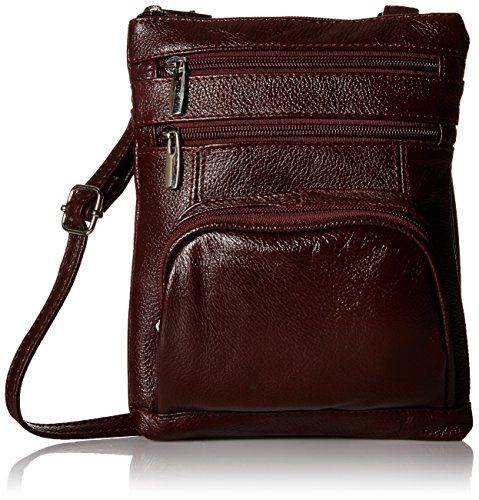 Roma Leather Genuine Leather Organizer Womens Crossbody Bag ()