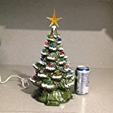 Traditional Retro Ceramic Christmas Tree Green with Snow ......15 inches Tall #1110scroll