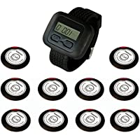 SINGCALL Wireless Restaurant Service Call System,10 Pagers and 1 pc Watch Receiver