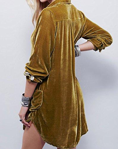 Velours Manches Longues Mini-brown Robe Chemise Des Femmes R.vivimos