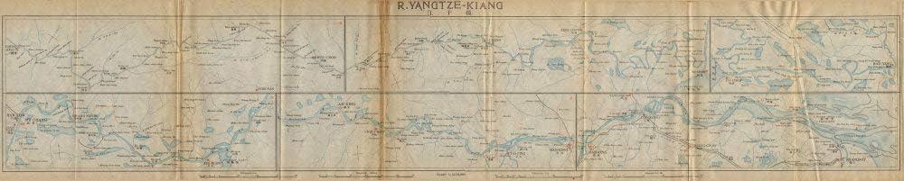 China 1915 Shanghai Wuhan Nanjing /'Yangtze-kiang/' Yangtze river antique map