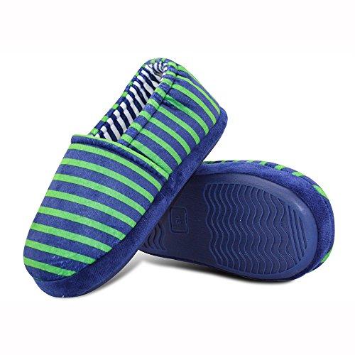 Pictures of LA PLAGE Boy's Cute Soft Cotton Stripe Slippers US 4