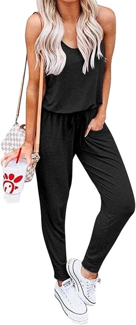 OTW Womens Elastic Waist Sport Sleeveless Casual Pockets Pure Color Jumpsuit Romper