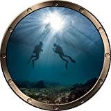 12'' Porthole Ship Window Ocean Sea View SCUBA DIVERS #2 PEWTER ROUND Wall Decal Kids Sticker Baby Room Home Art Décor Graphic SMALL