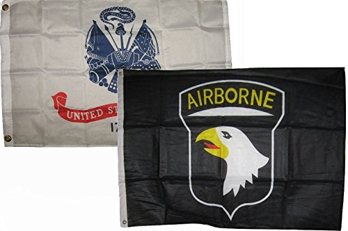 ALBATROS 3 ft x 5 ft Set Army White with Airborne 101st Black Flags Flag for Home and Parades, Official Party, All Weather Indoors Outdoors