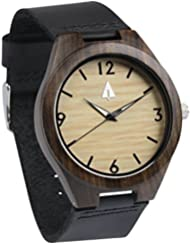 Treehut Mens Ebony Wooden Watch with Genuine Black Leather Strap Quartz Analo...