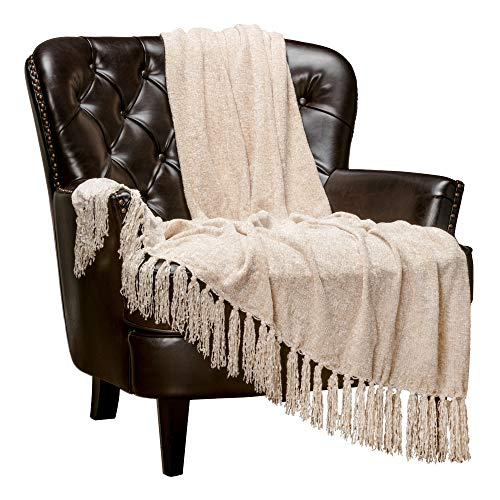 Chanasya Chenille Velvety Texture Decorative Throw Blanket with Tassels Super Soft Cozy Classy Elegant with Subtle Shimmer for Sofa Chair Couch Bed Living Bed Room Ivory Throw Blanket (50x65)- Cream (Sofa Classy)