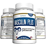Masculin Plus Testosterone Booster Natural - Maximum Strength for Men. Workout Muscle Building Energy with L-Arginine Tribulus Maca Ginseng Zinc 60 Tablets, Full 30 Day Supply.