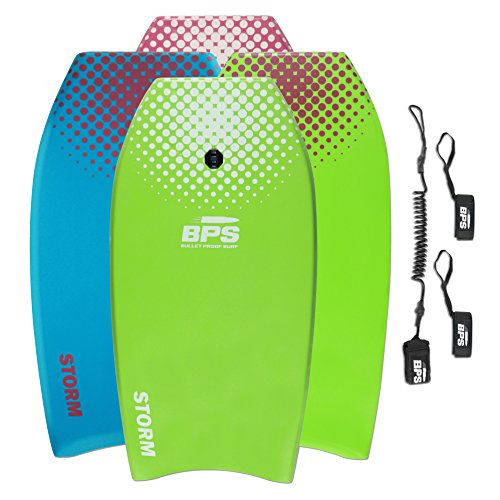 """BPS 37"""" Green w/White Dots Bodyboard with Leash and Fin Tethers (2018)"""