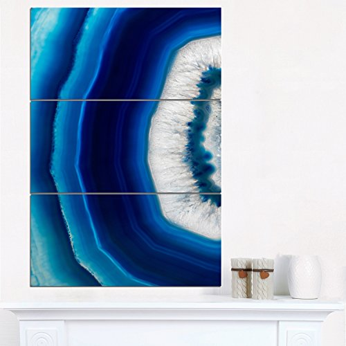 Design Art 3 Piece Agate Crystal Abstract Canvas Art Print, 28'' x 36'', Blue by Design Art