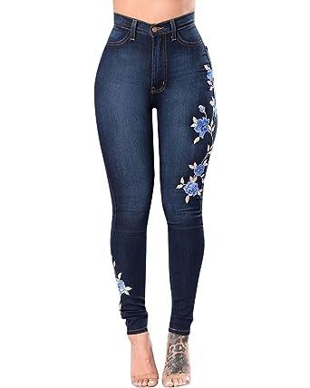 64582876ab ZhuiKun Mujer Cintura Medio Bordado Pantalones Jeans Elástico Flacos  Vaqueros Leggings Push up Mezclilla Pantalones  Amazon.es  Ropa y accesorios