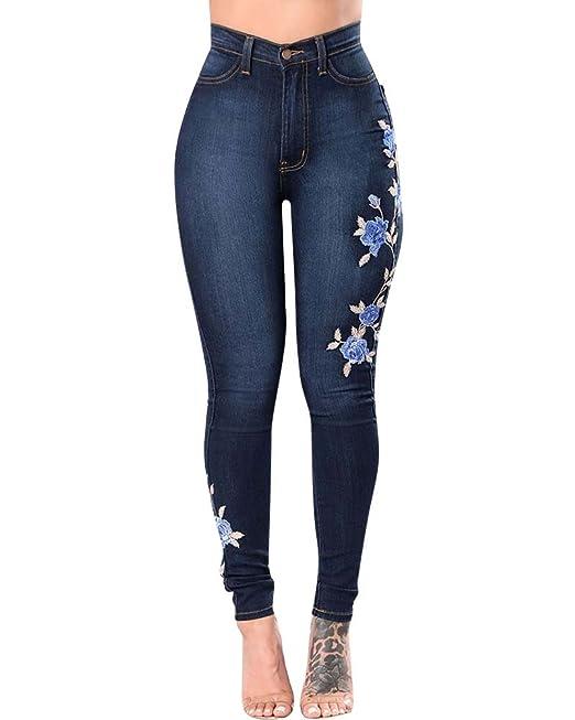 ZhuiKun Mujer Cintura Medio Bordado Pantalones Jeans ...