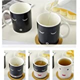 Morning Ceramic Coffee Cup Smilling Face Color Changing Mug Cup