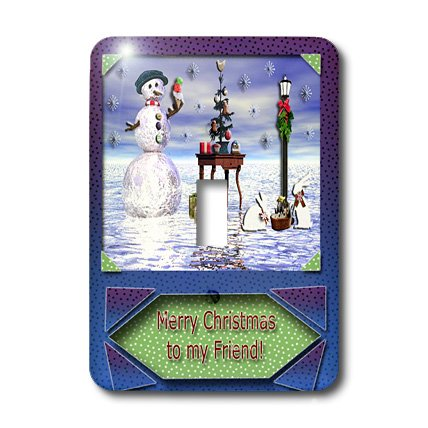 3dRose lsp_17491_1 Snowman with Bunny 3D Merry Christmas to Friend Toggle Switch ()