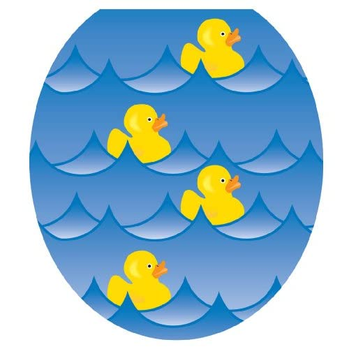 70%OFF Toilet Tattoos TT-4001-R Rubber Ducky Blue Decorative Applique for Toilet Lid, Round