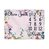 Sobilar Milestone Blanket with Flowers - Baby Girl Floral Month Blanket - Watercolor Newborn Monthly Photography Backdrop - Personalized Shower Gift (60x80)