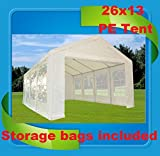 26'x13′ PE Party Tent White – Heavy Duty Wedding Canopy Carport – By DELTA Canopies For Sale