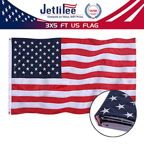 (Jetlifee American Flag 3x5 Ft - by U.S. Veterans Owned Biz. Embroidered Stars, Sewn Stripes, Brass Grommets US Flag.Outdoors Indoors USA Flags Polyester 3 x 5 Foot.)