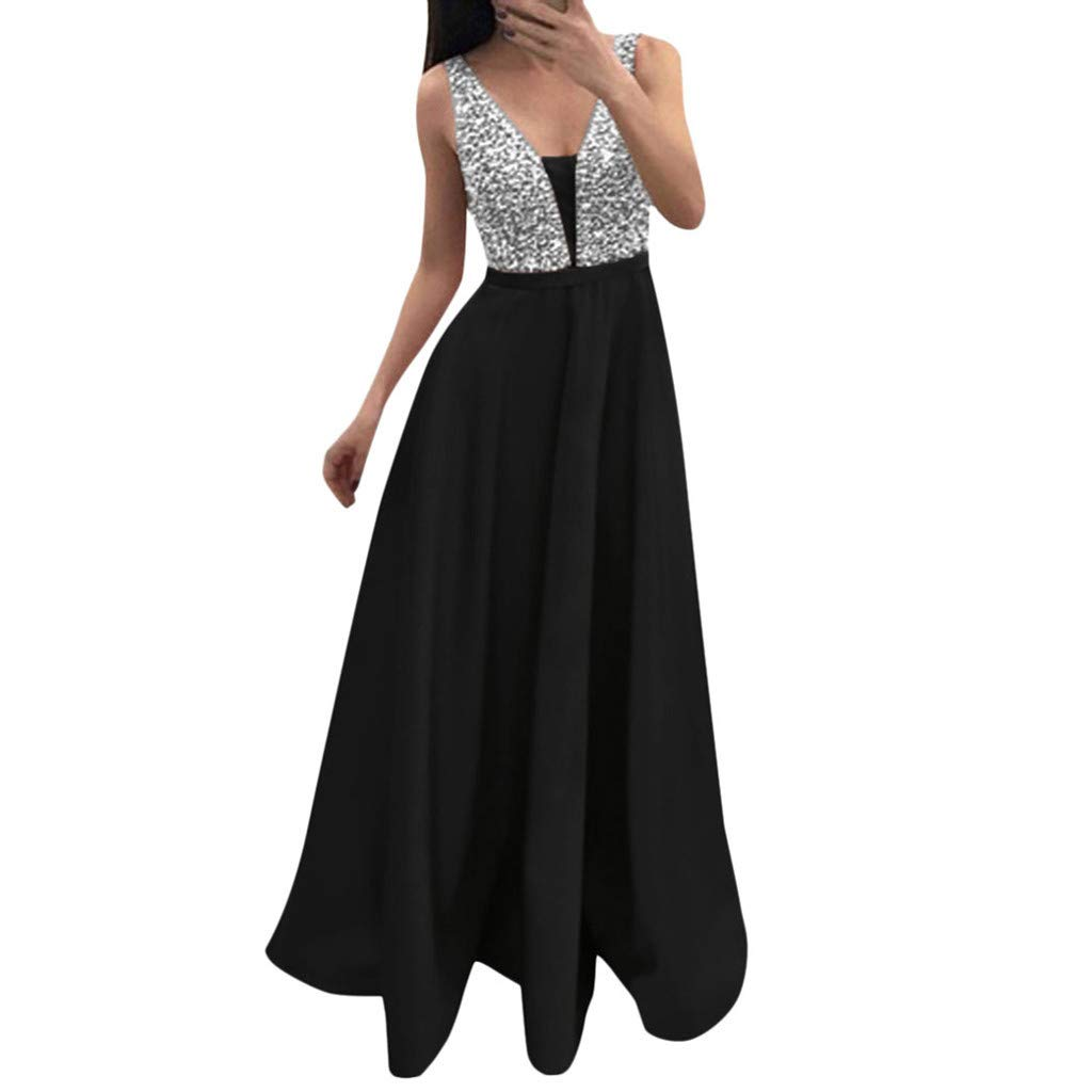 Sleeveless Party Dress Sequined Dresses Long Bodycon ❀Vine_MINMI❀ V-Neck Skirt Sundress Party Cocktail Dresses Black by Vine_MINMI Dress