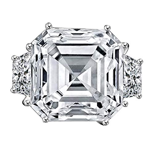 Diamond Veneer - 12Ct. Asscher Cut Center Set with Double Sided Baguettes Vintage Ring Simulated Diamond (Clear, 7)