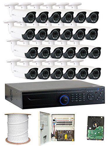 GW Security 2.1MP HD-TVI 1080P Complete Security System | (24) x 2.1MP HDTVI (True HD 1080P) Outdoor 2.8-12mm Varifocal Zoom Bullet Security Cameras, 32-Channel Plug and Play DVR, 8TB Hard Drive