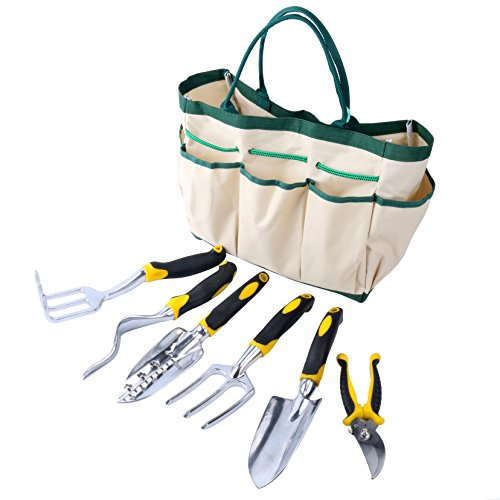 YaeTact 7 Piece Garden Tool Set with 6 Heavy Duty, Durable Aluminum Alloy Tools with Ergonomic Handles and Sizable Garden Tote Bag