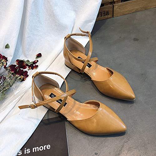 ZHZNVX Zapatos de Mujer PU (Poliuretano) Tacones de Bomba básicos de Verano Bajo en Punta con Punta de Aguja Negro/Beige / Marrón Brown