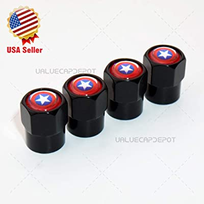 UATUO Universal Hexagon Shape Captain America Logo Car Wheel Tire Air Valve Cap Stem Cover (Black Caps): Automotive