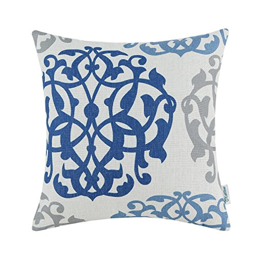 CaliTime Canvas Throw Pillow Cover Case for Couch Sofa Home Decoration Three-Tone Floral Compass Geometric 18 X 18 inches Blue/Gray