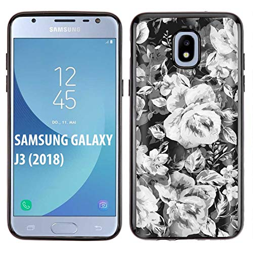 [SkinGuardz] Samsung Galaxy J3 2018/Amp Prime 3/Express Prime 3/Achieve/Star/J338 [Black] Slim Impact Resistant Armor Cover Case [Rose Party Print] -