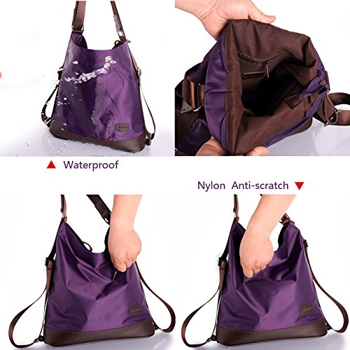 Fashion LA HAUTE Shoulder HAUTE Color Nylon Black Bag LA Tote Purse Handbag Elegant Purple Function Women's Crossbody Multi Bag Backpack trqrCwEn