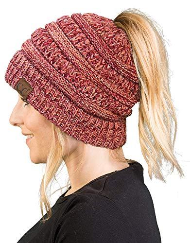 Orange Bow Socks - BT-6800-816.52 Messy Bun Womens Winter Knit Hat Beanie Tail - Coral #16