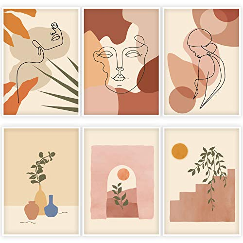 """Whaline 6 Pack Abstract Line Art Poster Minimalist Wall Art Prints Waterproof Woman Face Drawing Modern Aesthetic Room Decor for Girls Women Home Bedroom College Dorm, 9.72"""" x 13.82"""""""