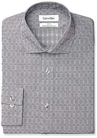 Calvin Klein Men's Slim Fit Non Iron Graphic Check, Graphite, 17.5 36/37