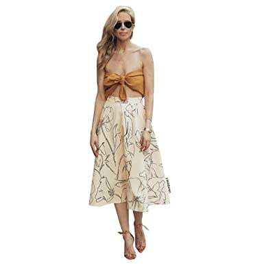 b62dce323e84 Image Unavailable. Image not available for. Color: Chicwish Women's Cream  Flower Printing A-Line Pleated Midi Skirt