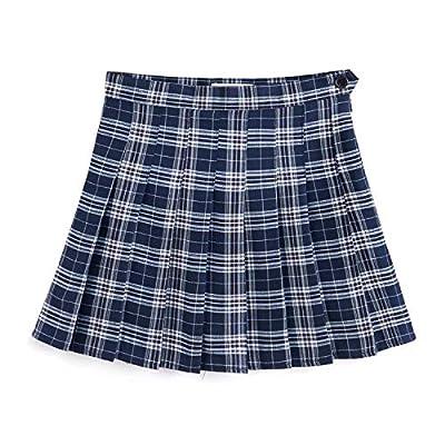 YOUGUE Women Plaid Pleated Tennis Mini Skirt School Girl Uniform Skort