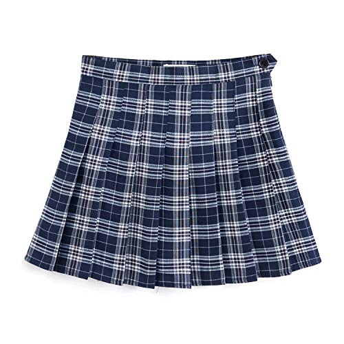 Blue Plaid Pleated Skirt - YOUGUE Plaid Skirt High Waist Japan School Girl Uniform Skirts Navy Blue