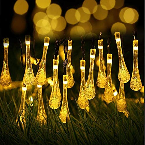 YUNLIGHTS Solar String Lights, 21.3ft 30 LED Christmas Solar String Lights, Waterproof Raindrop Fairy Lights for Indoor Outdoor Wedding, Patio, Lawn, Party, Home,Holiday Decorations (Lights Allen Christmas)