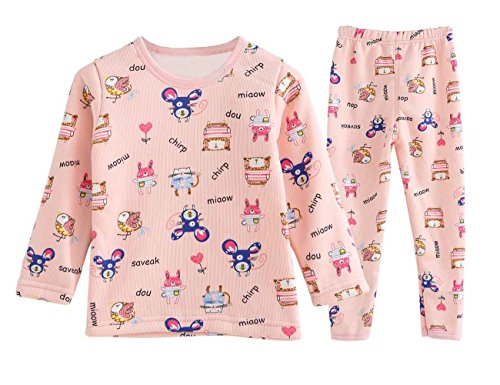 SMILING PINKER Baby Toddler Boys Girls Pajamas Set Fleece 2 Piece Top Pants Kids Sleepwear PJS