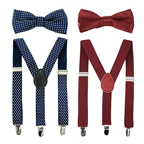 Kids Bow Tie and Suspenders Toddler Suspenders with Bow Ties Set Burgundy Red & Navy Polka Dot Adjustable Elastic Y-Back Strong Clips 2 Packs