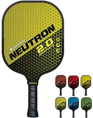 GAMMA Sports 2.0 Pickleball Paddles: Neutron 2.0 Pickleball Rackets - Textured Graphite Face - Mens and Womens Pickle Ball Racquet - Indoor and Outdoor Racket - Yellow Pickle-Ball Paddle - 7 oz