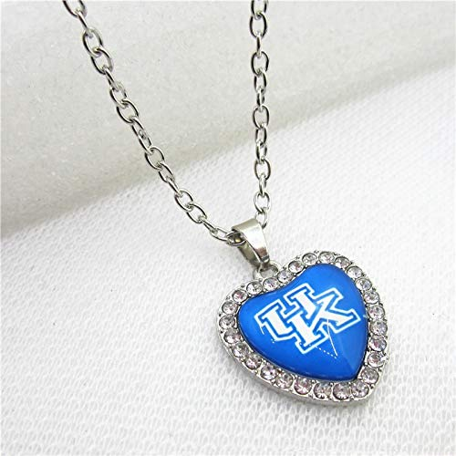 Gimax 10pcs University of Kentucky Wildcats Necklace with 50cm Chains Crystal Heart USA Sports Necklace Pendants Jewelry - (Metal Color: Silver Plated, Length: 50cm)