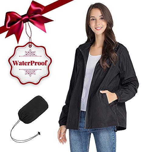 Jacket Black Travel (ZEALOTPOWER Windbreaker Jacket for Women Waterproof Travel Packable Raincoat with Hood Lightweight Light Black X-Large)