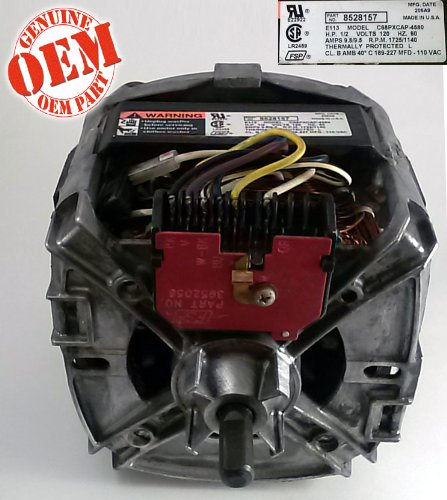 OEM Factory Whirlpool Part # 8528157 - 2 Speed Drive Motor For Whirlpool Kenmore Maytag Sears Brand Clothes Washers. Includes New Coupler. ()