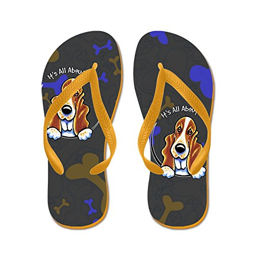 CafePress Basset Hound IAAM - Flip Flops, Funny Thong Sandals, Beach Sandals Orange